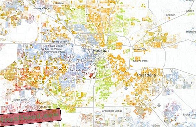 Тази карта, с точка за всеки американец, показва расовите разделения на страната